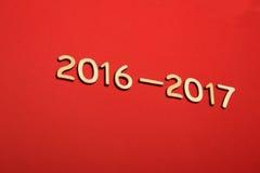 Hölzerne Zahl im Jahre 2016-2017 Neues Jahr Stockbilder