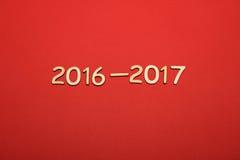 Hölzerne Zahl im Jahre 2016-2017 Neues Jahr Lizenzfreies Stockfoto