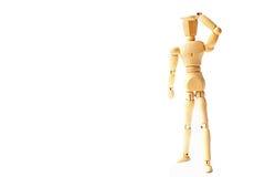 Hölzerne Zahl Puppe mit dem Suchen des Gefühls nach Erfolgsgeschäftsbetrug Lizenzfreies Stockbild