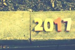 Hölzerne Zahl von 2017 für Feiern des neuen Jahres Stockbild