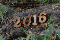 Hölzerne Zahlart des guten Rutsch ins Neue Jahr 2016 Lizenzfreie Stockbilder