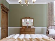 Hölzerner Aufbereiter mit Spiegel und schieben Schließfächern im klassischen Schlafzimmer vektor abbildung