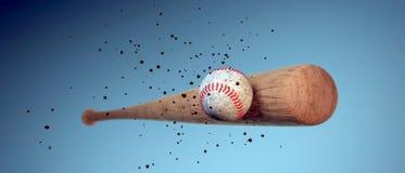 Hölzerner Baseballschläger, der einen Ball schlägt Stockbild