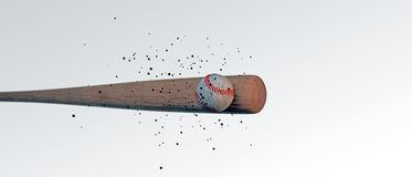 Hölzerner Baseballschläger, der einen Ball schlägt Lizenzfreies Stockfoto