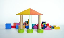 Hölzerner Bau für Kinderspiel Stockfoto