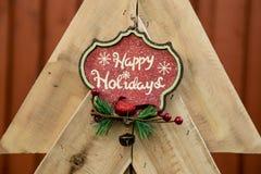Hölzerner Baum für Weihnachten Lizenzfreie Stockfotografie