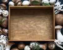 Hölzerner Behälter in der Mitte und ein Rahmen von verschiedenen Pilzen Lizenzfreies Stockfoto