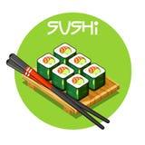 Hölzerner Behälter mit Vektor-japanischem Lebensmittel der Sushi Lizenzfreie Stockfotografie