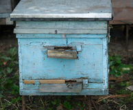 Hölzerner Bienenstock im Bienenhaus Stockbilder
