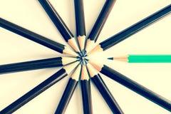 Hölzerner Bleistift Browns vereinbaren als Rundschreiben mit einem von unterschiedlichem PET Stockbild