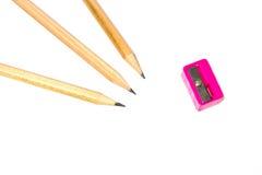 Hölzerner Bleistift und Bleistiftspitzer Stockfotografie