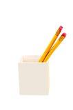 Hölzerner Bleistifthalter lokalisiert auf weißem Hintergrund Lizenzfreies Stockfoto