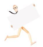 Hölzerner blinder Geschäftsmann mit leerer Fahne Lizenzfreies Stockbild
