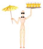 Hölzerner blinder Kellner mit Bier auf Behälter Lizenzfreie Stockbilder
