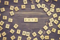 hölzerner Block von 2018 Wort auf Tabelle für Geschäftskonzept Stockfotografie