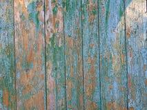 Hölzerner cyan-blauer und brauner Zaun Stockfotos