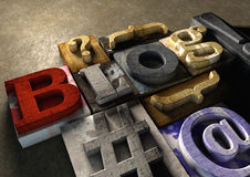 Hölzerner Druckstockform Blogtitel Konzept für blogging, Querstation Lizenzfreie Stockfotografie