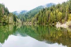 Hölzerner entspannender Bereich auf dem sovata See Lizenzfreie Stockbilder