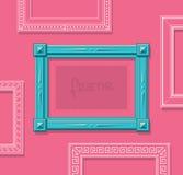 Hölzerner flacher Vektor des Bilderrahmens Stilvoller blauer Fotorahmen auf rosa Wand Gemälderahmensatz schablone Lizenzfreie Stockbilder