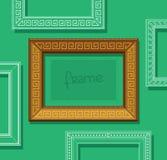 Hölzerner flacher Vektor des Bilderrahmens Stilvoller Goldfotorahmen auf grüner Wand Gemälderahmensatz schablone Stockbilder