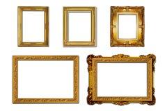 Hölzerner Fotorahmen Louis-Art auf weißem Hintergrund stockfotografie