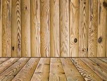 Hölzerner Fußboden und Wand Stockfotografie