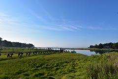 Hölzerner Gehweg in Duxbury heraus zur Bucht Lizenzfreie Stockfotografie