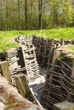 Hölzerner Graben Bayernwald des Weltkriegs 1 Belgien Stockbild