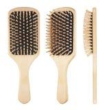 Hölzerner Hairbrush lizenzfreies stockbild