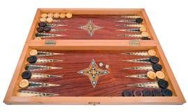Hölzerner handgemachter Backgammonvorstand getrennt auf Weiß Lizenzfreies Stockfoto
