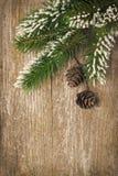 Hölzerner Hintergrund der Weihnachtsweinlese mit Tannenzweigen und Kegeln Stockfoto