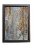 Hölzerner Hintergrund mit abgezogen von der Farbe im Holzrahmen Stockfotos