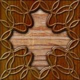 Hölzerner Hintergrund mit keltischem Muster stockbild