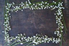 Hölzerner Hintergrund mit weißen Blumen Stockbild