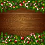 Hölzerner Hintergrund und Weihnachtsverzierung Lizenzfreies Stockbild