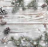 Hölzerner Hintergrund weiß Winterkarte Grüne Tannenzweige Abbildung innen Gruß-Karte mit Weihnachten oder neuem Jahr Walnüsse und Stockbild