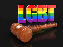 hölzerner Holzhammer 3d mit Text LGBT vektor abbildung