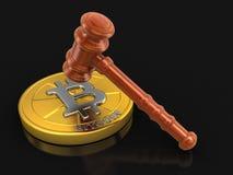 hölzerner Holzhammer 3d und Bitcoin Lizenzfreie Stockfotografie