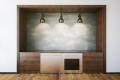 Hölzerner Kücheninnenraum Lizenzfreies Stockfoto