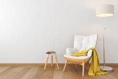 Hölzerner Lehnsessel des weißen Leders im leeren Raum Stock Abbildung