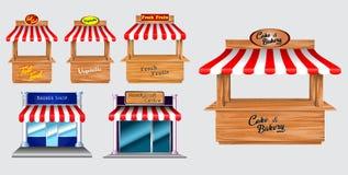 Hölzerner Marktstandstall und verschiedener Kiosk, wenn die rote und weiße gestreifte Markise lokalisiert ist stock abbildung
