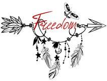 Hölzerner Pfeil mit Freiheit Stockbild