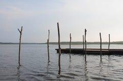 Hölzerner Pier und Baum im Soustons See, Landes Lizenzfreie Stockfotos