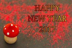 Hölzerner Pilz für das neue Jahr 2017 Lizenzfreies Stockbild