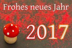 Hölzerner Pilz für das neue Jahr 2017 Lizenzfreie Stockfotografie