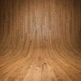 Hölzerner Planken Raum mit hölzernem Fußboden und Wänden Stockfoto