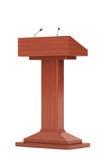 Hölzerner Podium-Tribüne-Podiums-Stand mit Mikrophonen Lizenzfreie Stockbilder