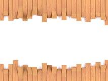 hölzerner Rahmen des Teakholzes auf Weiß lizenzfreie abbildung