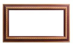 Hölzerner Rahmen mit thailändischem Kunstgoldmalerei-Kunstdesign lizenzfreie stockbilder