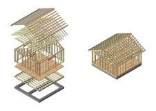 Hölzerner Rahmenbau des Hauses Fahne für den Standort eines Bauunternehmens Stockfotografie